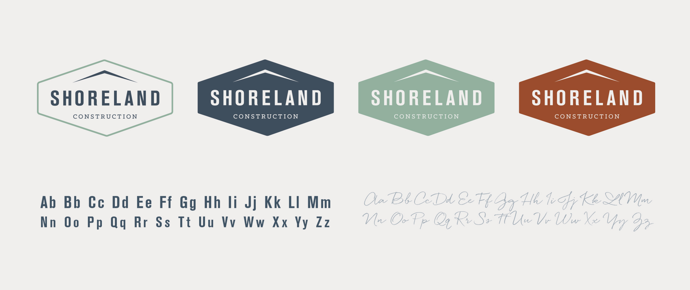 Shoreland Construction Brand Badges Designed by Just Make Things