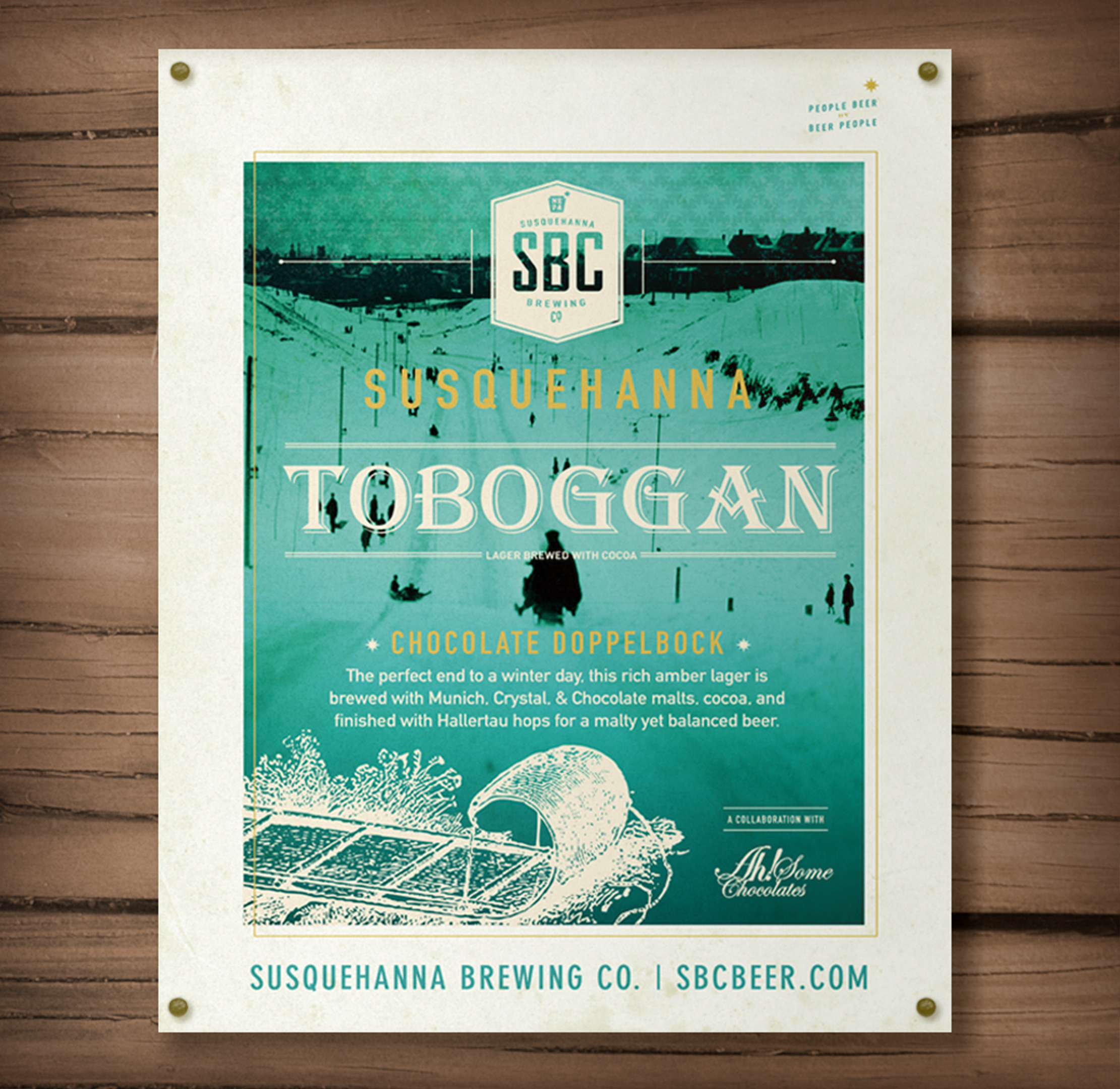 Susquehanna Brewing Co. Toboggan Chocolate Doppelbock Brand Poster Designed by Just Make Things