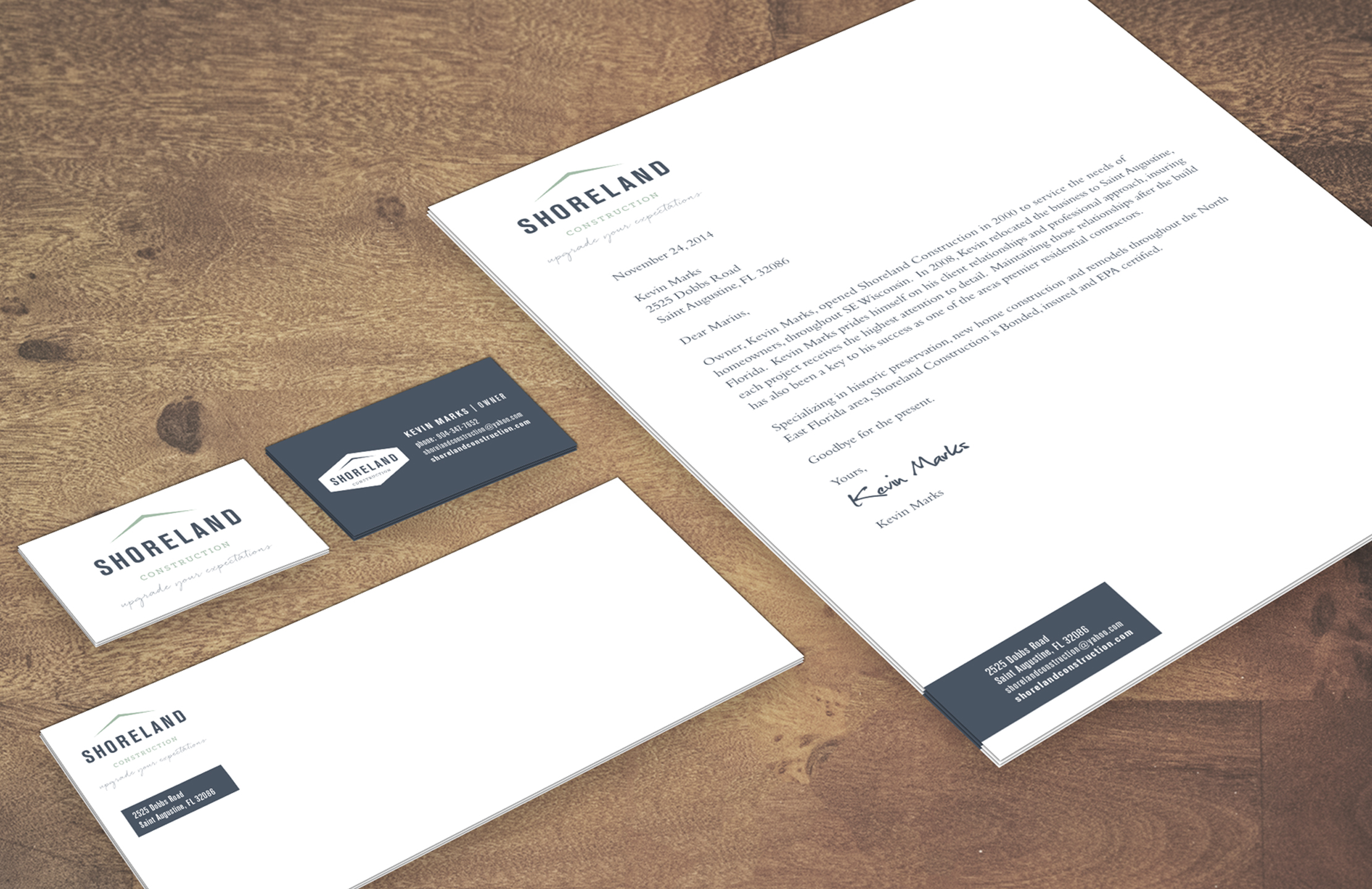 Shoreland Construction Branding Stationery by Just Make Things