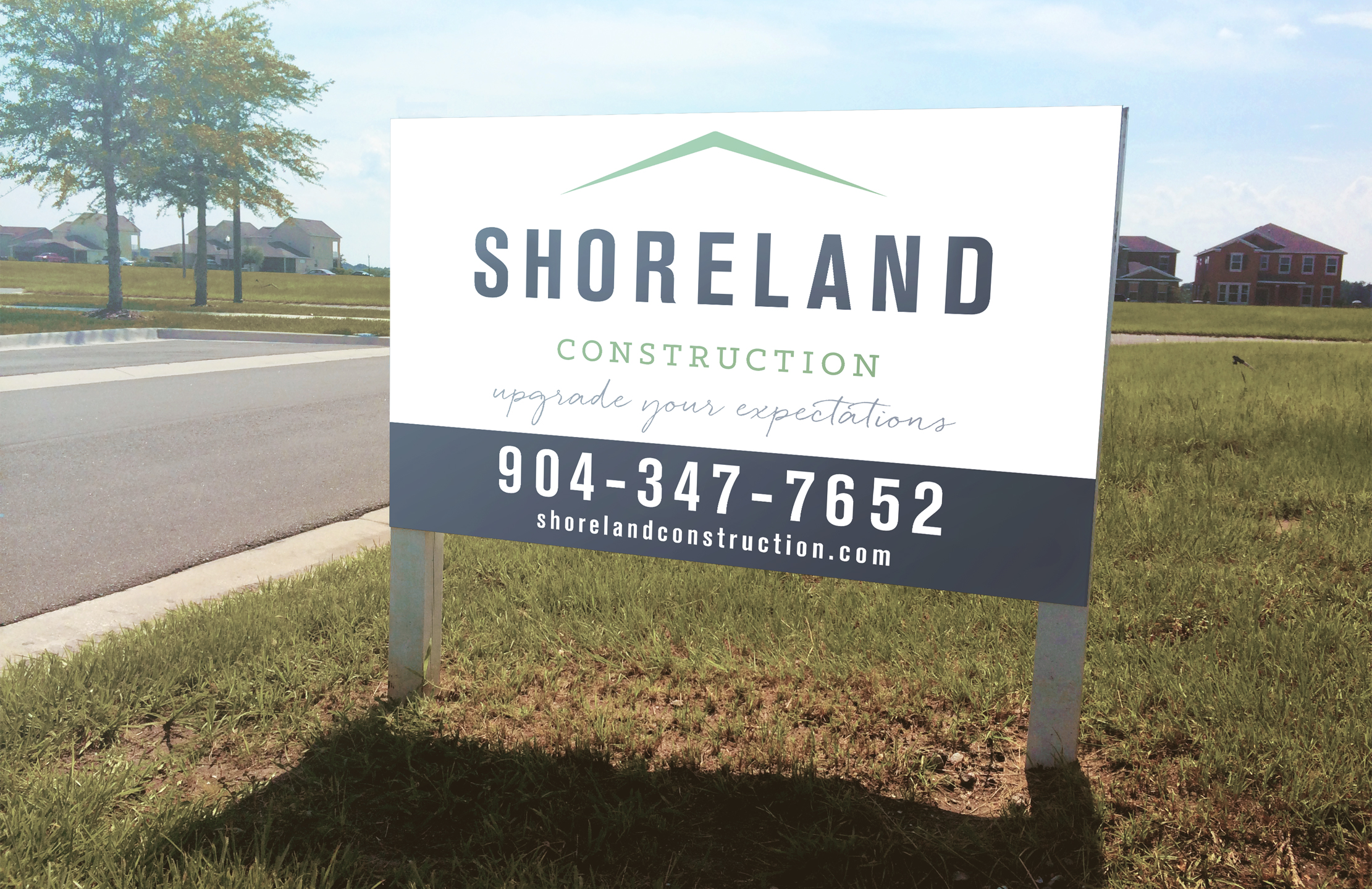 Shoreland Construction Branding Yard Sign Designed by Just Make Things
