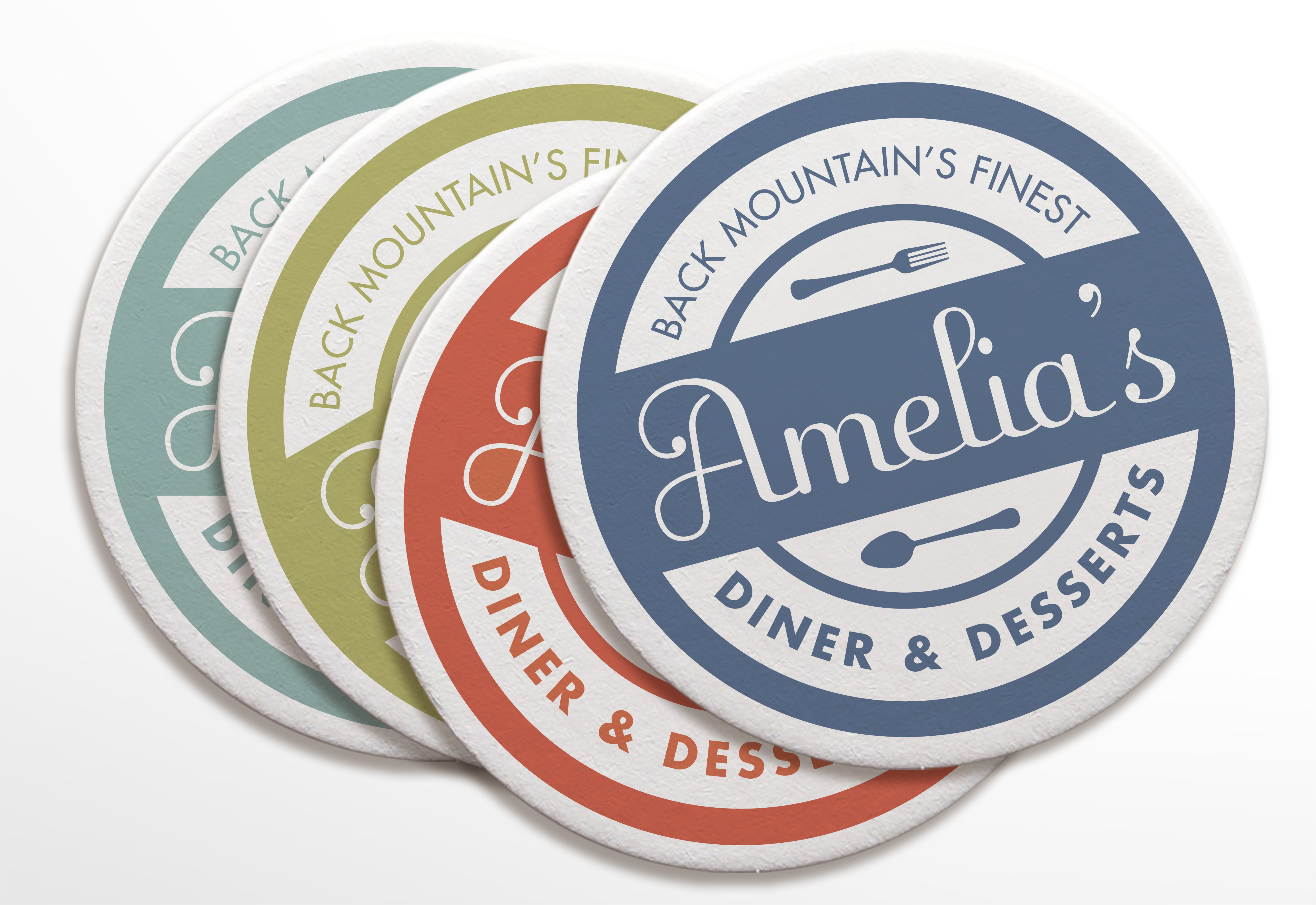 Brand Identity by Just Make Things – Amelia's Diner Coasters