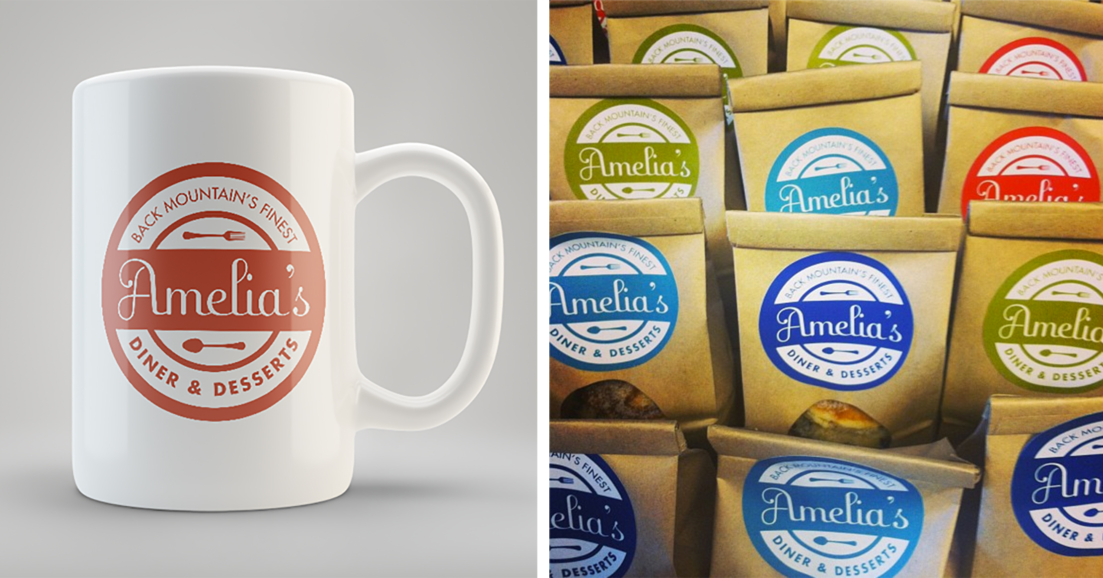 Brand Identity by Just Make Things – Amelia's Diner Mug and Bags